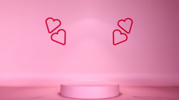 Minimalna scena abstrakcyjna tła z podium do lokowania produktu w walentynki z dekoracjami