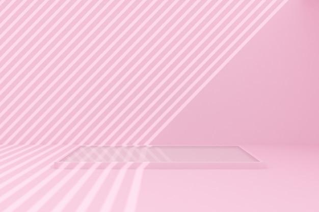 Minimalna scena basenu z cieniem na różowym tle