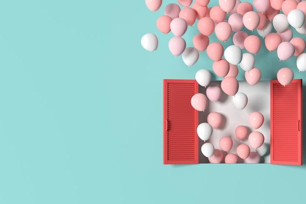 Minimalna scena czerwonego okna i pływających balonów na tle zielonej ściany