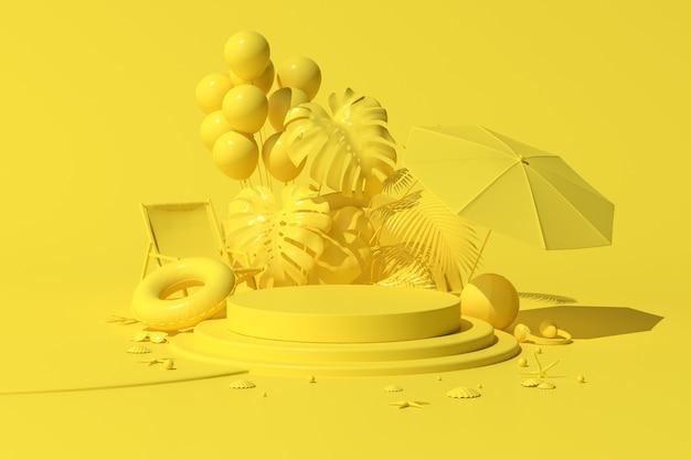 Minimalna scena geometryczne okrągłe podium z balonami i rośliną do prezentacji produktu, koncepcja lato, renderowanie 3d.