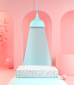 Minimalna scena makiety do pokazu produktu w pastelowym kolorze