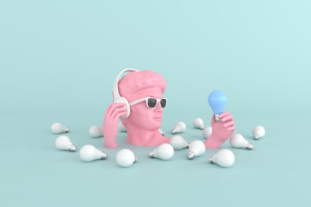 Minimalna scena okulary przeciwsłoneczne i słuchawki na ludzkiej rzeźbie głowy trzymającej żarówki, renderowanie 3d.