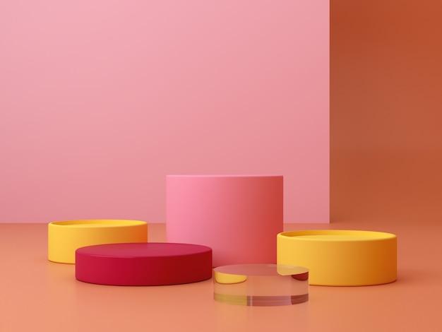 Minimalna scena. podium cylindra. figury geometryczne. scena z formami geometrycznymi