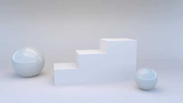 Minimalna scena schodów do prezentacji produktów, renderowanie 3d
