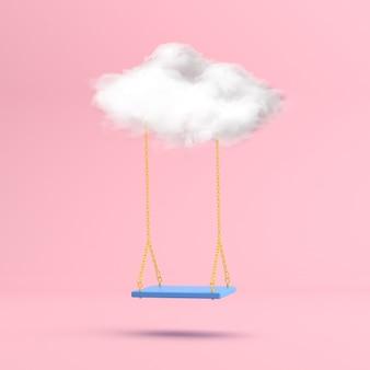 Minimalna scena unoszącej się na wodzie huśtawki z białą chmurą