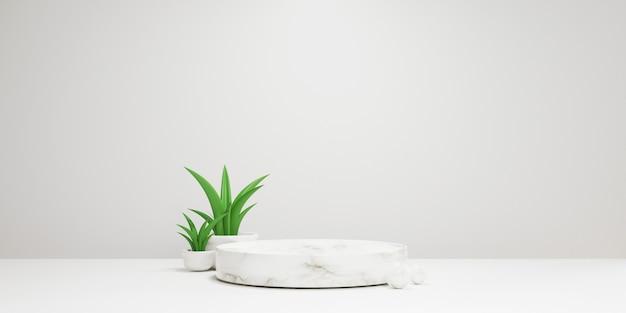 Minimalna scena z cylindrycznego marmurowego podium na białym tle z zieloną rośliną do prezentacji produktu, makiety i wyświetlania koncepcji piedestału kosmetycznego lub scenicznego techniką renderowania 3d.