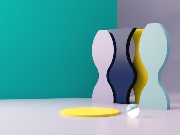 Minimalna scena z geometrycznie zakrzywionymi formami na niebieskim tle abstrakcyjnym.