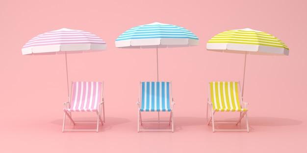 Minimalna scena z leżakami i parasolem na różowej ścianie, różne kolory, koncepcja lato, renderowanie 3d.