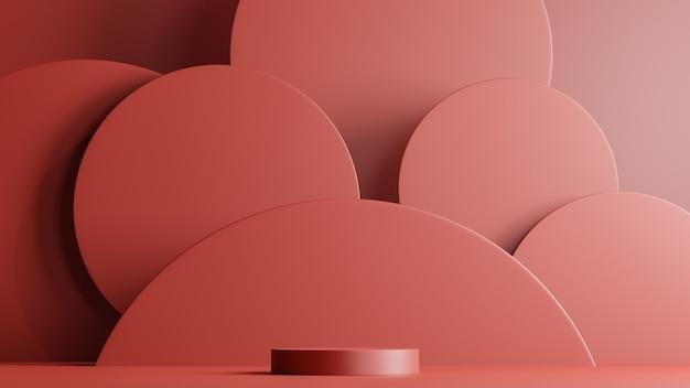 Minimalna scena z podium i abstrakcyjne kształty okrągłe. scena w czerwonych kolorach. renderowanie 3d.
