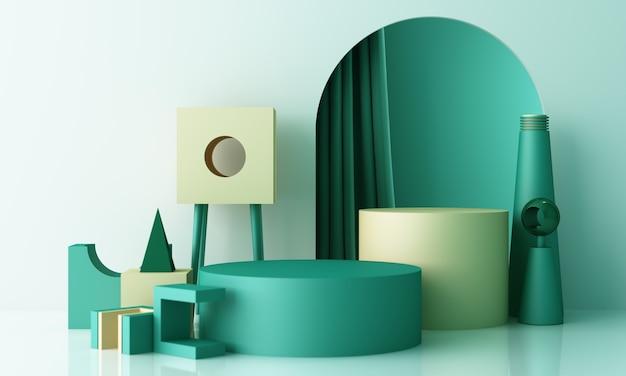 Minimalna scena z podium i abstrakcyjne tło. pastelowa zieleń, żółto-biała scena. modny na banery społecznościowe, promocję, pokaz produktów kosmetycznych. geometryczne kształty wnętrza renderowania 3d