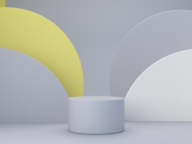 Minimalna scena z podium i abstrakcyjnym tłem geometryczne kształty kolor roku 2021 minimalny render 3d scena z geometrycznymi formami i teksturowanym tłem dla produktu kosmetycznego 3d render