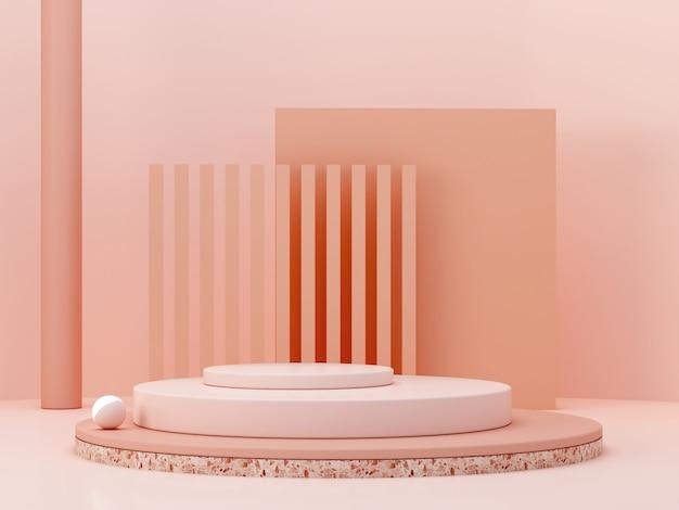Minimalna scena z podium i abstrakta tłem. figury geometryczne. scena w pastelowych kolorach. minimalne renderowanie 3d. scena z geometrycznymi formami i teksturowanym tłem dla produktu kosmetycznego. renderowania 3d.