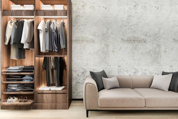 Minimalna sofa na poddaszu z drewnianą szafą