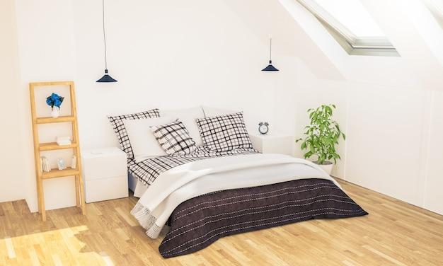 Minimalna sypialnia na poddaszu