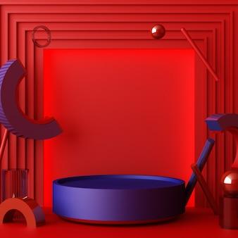 Minimalne abstrakcyjne tło geometryczne z bezpośrednim działaniem promieni słonecznych w odcieniach czerwieni i błękitu. prezentacja sceny z pustym podium do renderowania 3d prezentacji produktu