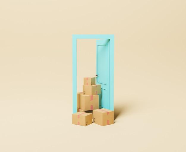 Minimalne drzwi z paczkami dostaw
