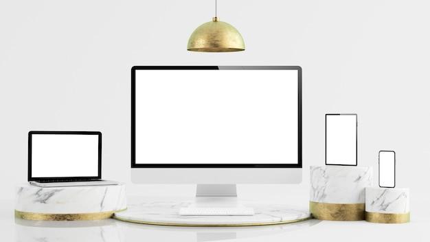 Minimalne eleganckie, responsywne urządzenia wykonują makietę renderowania 3d