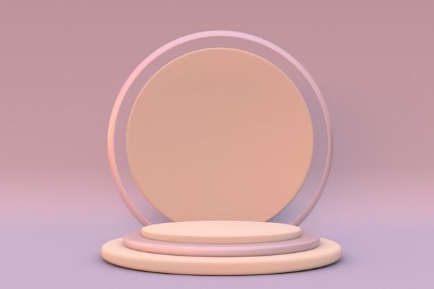 Minimalne kształty na pastelowym tle pusty cylinder podium scena z formami geometrycznymi