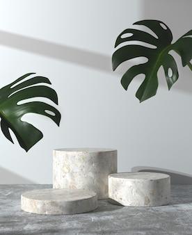 Minimalne makieta podium na betonowej podłodze i monstera z renderowaniem 3d na ścianie przeciwsłonecznej