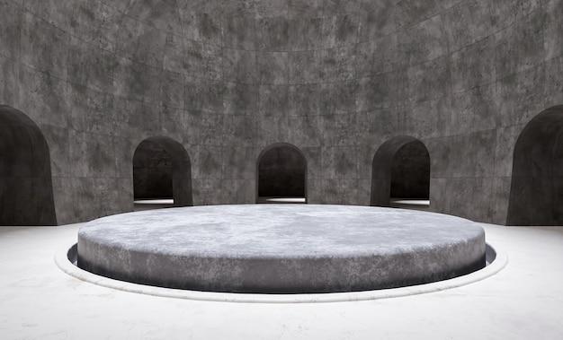 Minimalne okrągłe podium z produktami w pustym pokoju otoczonym łukami