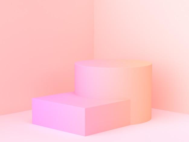 Minimalne podium gradientu abstrakcyjna ściany rogu sceny renderowania 3d