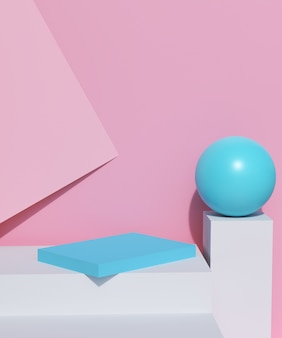 Minimalne podium i pusta prezentacja, wystawa sklepowa lub stojak na produkty puste