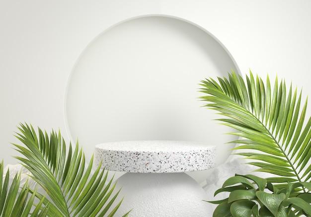 Minimalne podium palm zielony naturalny tropikalny dziki koncepcja abstrakcyjne tło 3d render