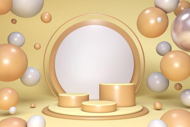 Minimalne podium w studiu 3d do prezentacji produktów. żółty okrągły cokół z kulkami i kulkami bąbelków
