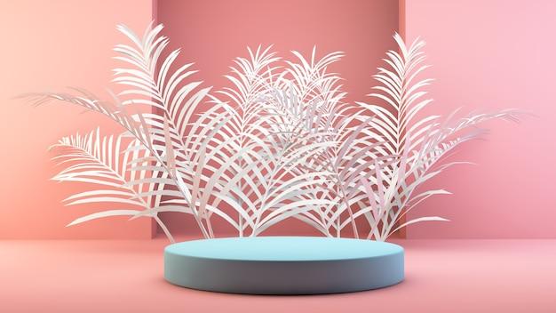 Minimalne podium z liśćmi palmowymi