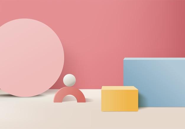 Minimalne różowe podium i scena z wektorem renderowania 3d w abstrakcyjnej kompozycji tła, ilustracja 3d makiety do kształtowania geometrii sceny formy platformy do wyświetlania produktu. etap dla produktu w nowoczesnym.