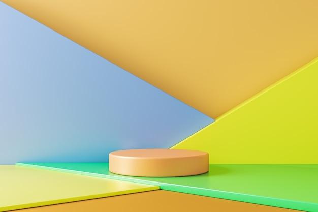 Minimalne tło dla prezentacji produktu, beżowa geometria koła bazuje na scenie z różnymi kolorowymi geometrycznymi kształtami. renderowanie 3d
