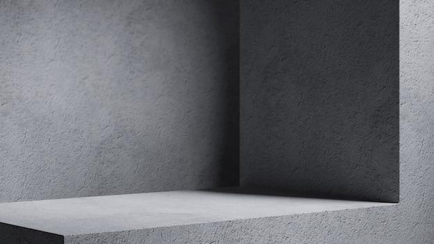 Minimalne tło kosmetyczne do prezentacji produktu. cień przeciwsłoneczny na ścianie beżowy tynk. ilustracja renderowania 3d.