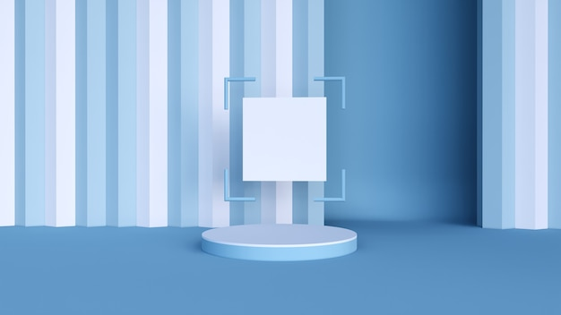 Minimalne tło, makieta sceny z podium do wyświetlania produktów. i czysty papier kwadratowy rendering 3d