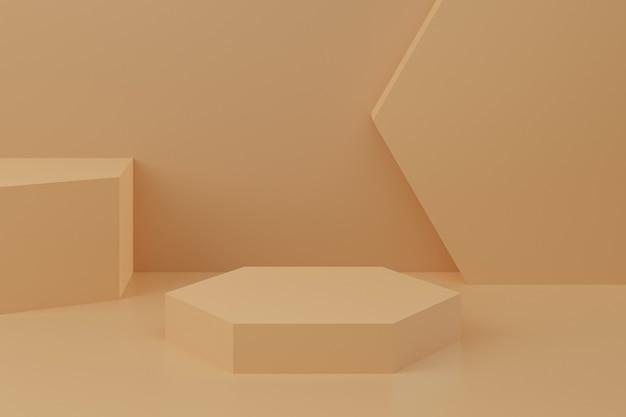 Minimalne tło, makieta z podium do wyświetlania produktów, abstrakcyjny biały kształt geometrii