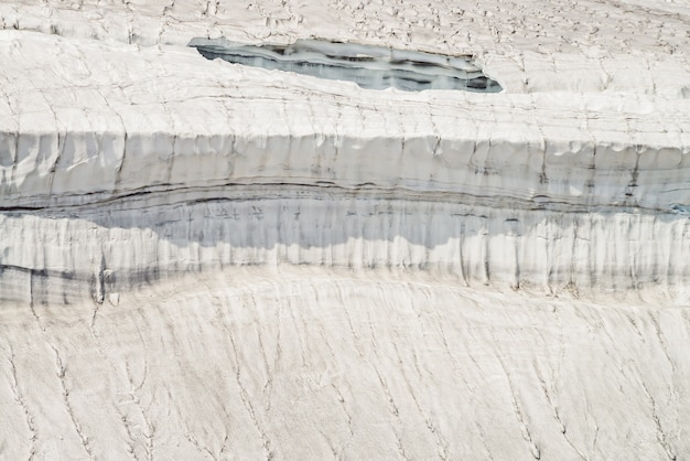 Minimalne tło natura z ścianą lodowca z bliska. minimalistyczne tło naturalne z pięknym gzymsem śnieżnym na stromym zboczu. zbliżenie powierzchni lodowca. minimalizm z gzymsem śnieżnym w słońcu.