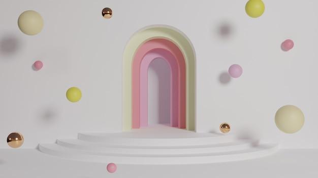 Minimalne tło renderowania archway 3d