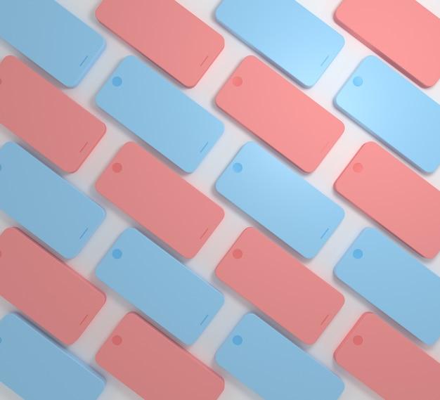 Minimalne tło wzór smartfonów lub telefonów komórkowych w pastelowym kolorze