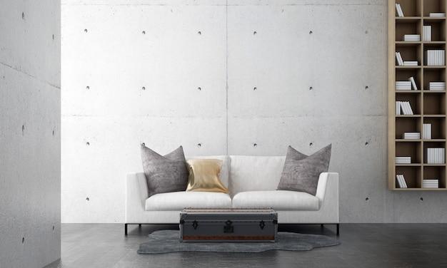 Minimalne wnętrze salonu makieta i puste tło białej ściany betonowej, styl skandynawski, renderowanie 3d