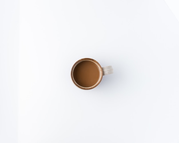 Minimalne zdjęcie filiżanki kawy, płaskie świeckich, widok z góry