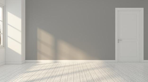 Minimalnie pusty pokój z drzwiami