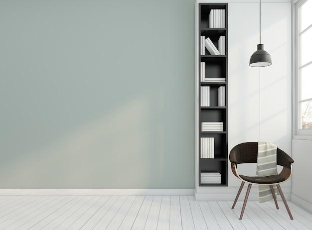 Minimalnie pusty pokój z fotelem i półką na książki
