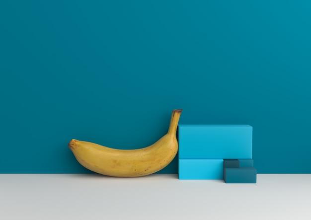 Minimalny bananowy geometryczny złoty komiśniak kształta entuzjasty palety 3d rendering.