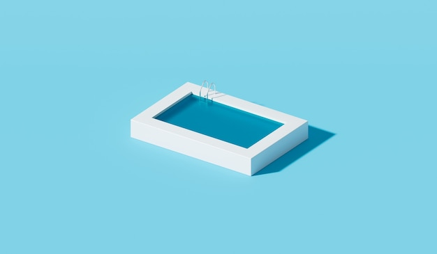 Minimalny basen i niebieska woda na tle lato widok z góry z koncepcją tropikalnych wakacji. renderowanie 3d.
