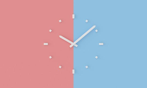Minimalny biały zegar ścienny na niebieskim i różowym tle
