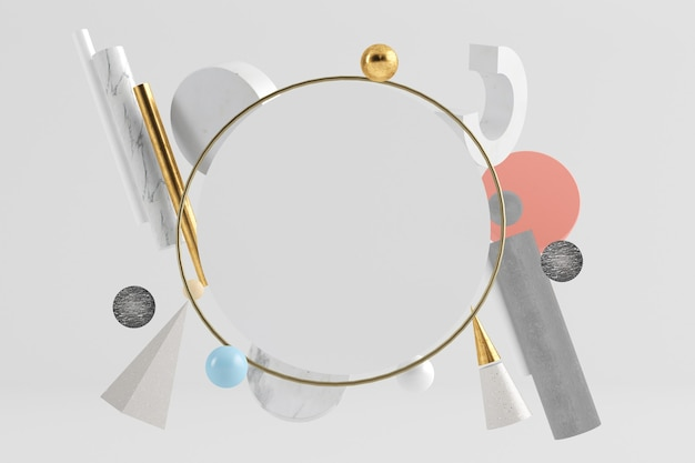 Minimalny cylinder makiety otoczony pływającymi kształtami geometrycznymi renderowania 3d