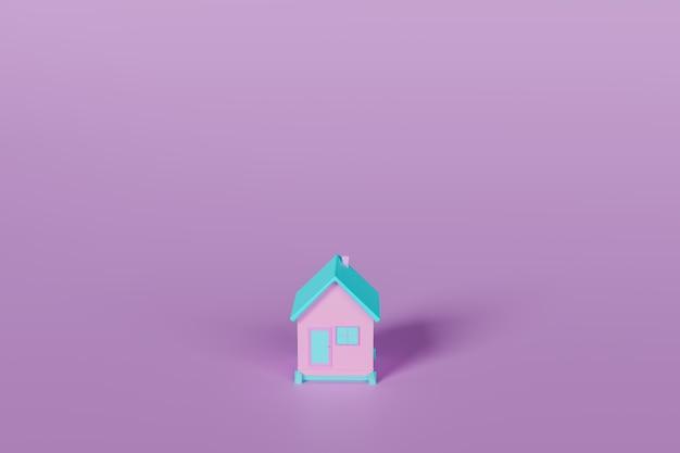 Minimalny dom na białym tle, pełny kolor 3d, renderowanie ilustracji 3d