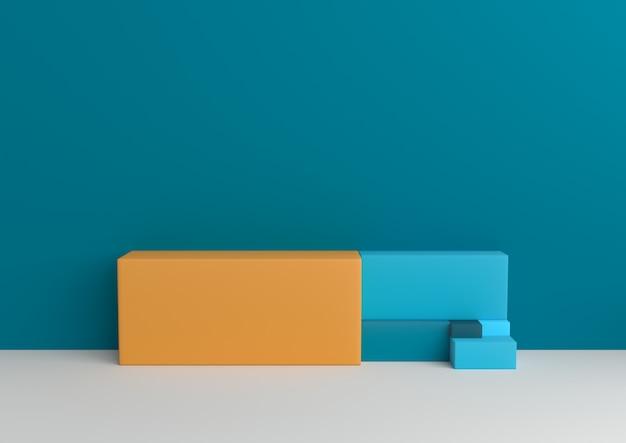 Minimalny geometryczny złoty komiśniak kształta entuzjasty palety 3d rendering.