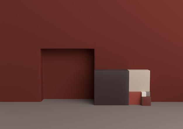 Minimalny geometryczny złoty racja kształt aficionado palety renderingu 3d.