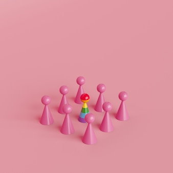 Minimalny kreatywny koncepcja ludzki symbol, znakomity kolor tęczy obiektu z różowego koloru obiektu, renderowania 3d
