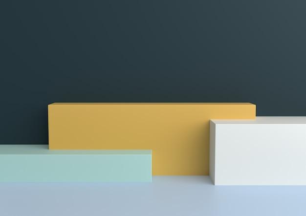 Minimalny kształt geometryczny pastelowy kochający renderowania 3d.